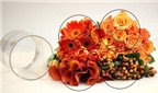 Cách cắm hoa để bàn dạng tròn với lá thiết mộc lan