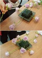 Cách cắm hoa hồng để bàn hình bầu dục đẹp mắt