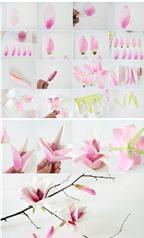 Cách làm hoa mộc lan màu hồng siêu đáng yêu