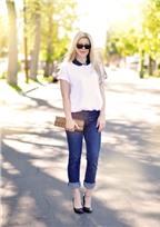 Cách 'mix' quần jeans với áo T-shirt trắng