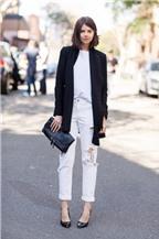 Cách phối đồ với quần jeans trắng