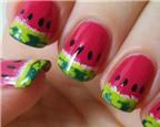 Cách vẽ nail dưa hấu cực đáng yêu cho mùa hè