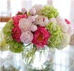 Cắm hoa mẫu đơn trang trí trong Ngày của Mẹ