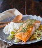 Tuyệt ngon món cơm cá hồi nướng
