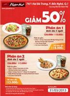 Giảm 50% dành cho Phần ăn 2 người tại chi nhánh Pizza Hut - Hai Bà Trưng (quận 01)