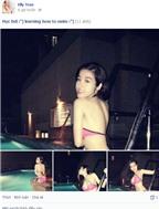 Elly Trần diện bikini mỏng học bơi