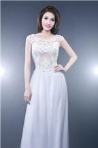Áo dài cưới màu trắng cách tân điệu đà