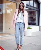Mách khéo cách mặc áo dạ và quần jeans rách