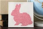 Cách làm tranh thêu thỏ hồng đơn giản, đáng yêu