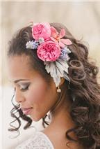 12 kiểu tóc tuyệt đẹp với hoa cho cô dâu